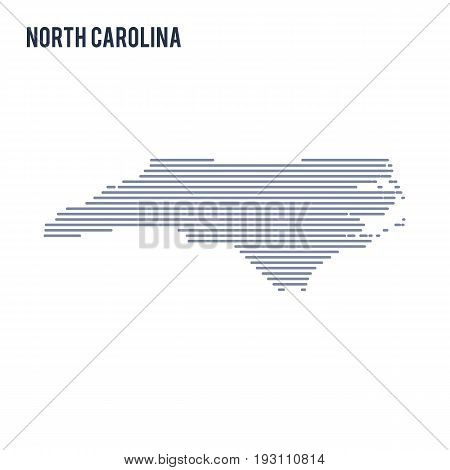 Vector Abstract Hatched Map Of State Of North Carolina With Lines Isolated On A White Background.