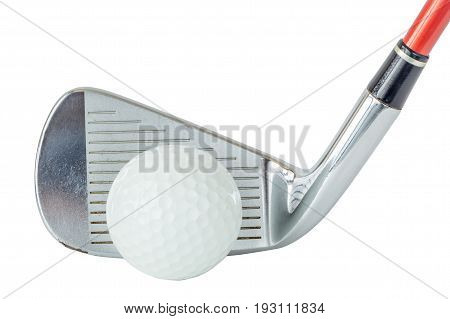 Action golf ball in front of golf club on white background golf concept.
