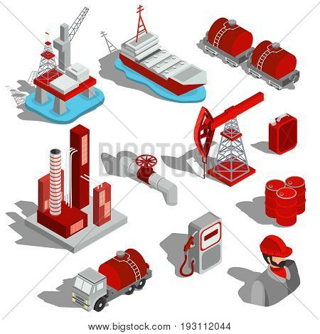 A set of isolated isometric illustrations of the oil industry. 3D icons for oil extraction, transportation, oil refinery, oil pipeline, barrels, fueling column
