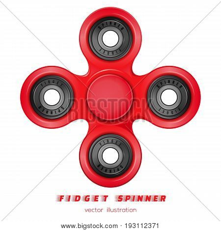 Hand fidget spinner toy for improvement of attention span. Stress-relieving toy. Red four-bladed fidget spinner made of red plastic. Realistic vector illustration isolated on white background