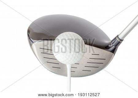 The new golf ball on tee with shiny black driver club on white background golf concept.