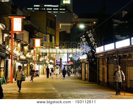 Night Street In Tokyo, Japan