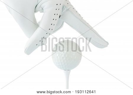 Golfer use two fingers holding golf ball on tee with white background sport golf concept.