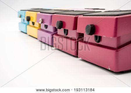 Group of vintage guitar pedal isolated on white background