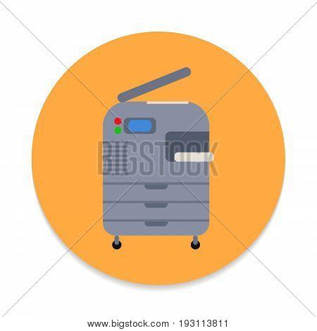 Copy machine copier flat icon. Round colorful button circular vector sign. Flat style design