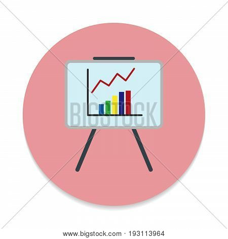 Whiteboard with growing chart flat icon. Round colorful button circular vector sign. Flat style design