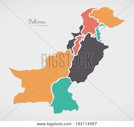 Pakistan Map With States And Modern Round Shapes