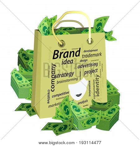 Brand Concept. Inscriptions With A Female Face