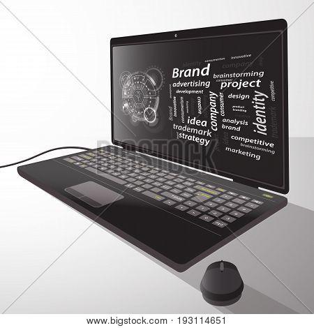Brand Concept. Inscriptions With A Techno