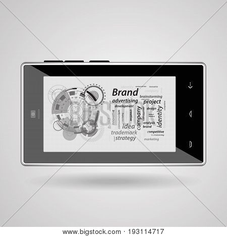 Brand Concept. Inscriptions On A Gray Background
