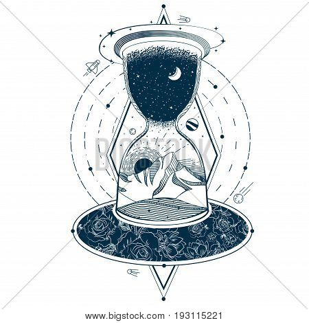 illustration of a sketch of an abstract tattoo with an hourglass enclosing the sky and the earth against the background of an infinite universe. Mystical symbol of time