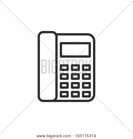 Office phone line icon outline vector sign linear style pictogram isolated on white. Telephone symbol logo illustration. Editable stroke. Pixel perfect graphics