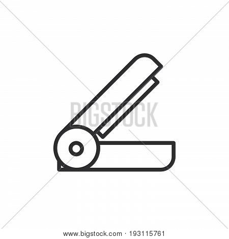 Stapler line icon outline vector sign linear style pictogram isolated on white. Stationery symbol logo illustration. Editable stroke. Pixel perfect graphics