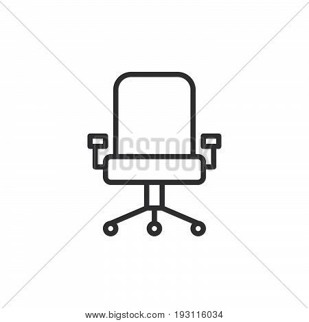 Executive seat line icon outline vector sign linear style pictogram isolated on white. Office chair symbol logo illustration. Editable stroke. Pixel perfect graphics