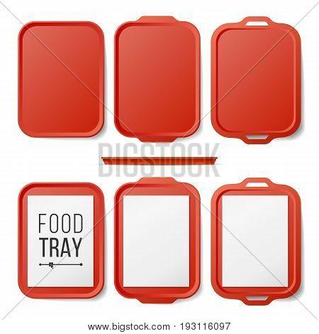 Empty Plastic Tray Salver Set Vector. Rectangular Red Plastic Tray Salver With Handles. Top View. Tray Isolated