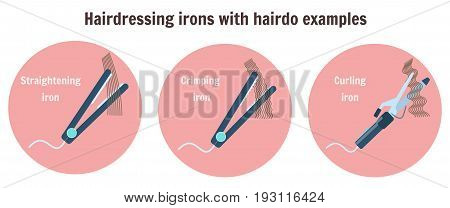 Flat hairdressing irons with hairdo examples. Infographic with curling iron, thinning iron and crimping iron, barbershop and hair style salon equipment