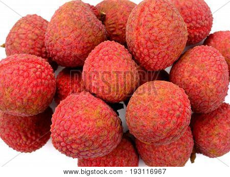 Fresh sweet lychees isolated on white background