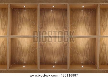 wooden shelf with light spots.