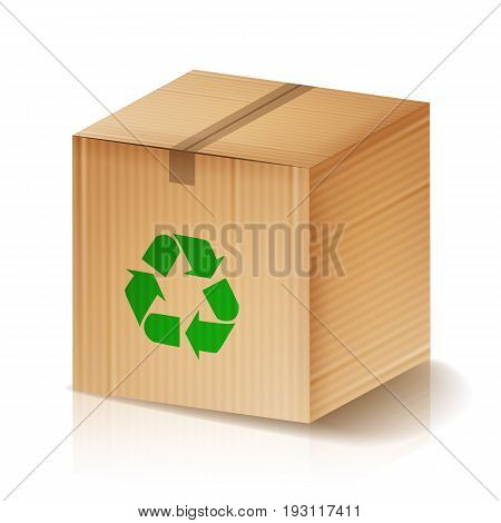 Recycle Box Vector. Brown Cardboard Box With Recycling Symbol. Isolated