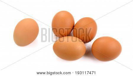 Fresh organic eggs isolated on white background