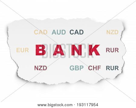 Currency concept: Painted red text Bank on Torn Paper background with  Currency