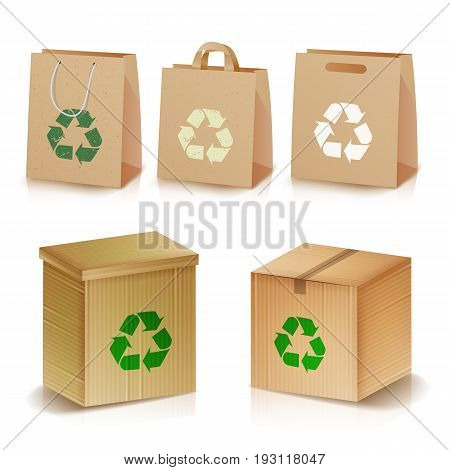 Recycling Paper Bags And Boxes. Realistic Blank Ecologic Craft Package. Illustration Of Recycled Brown Shopping Paper Bags And Boxes With Recycling Symbol. Isolated