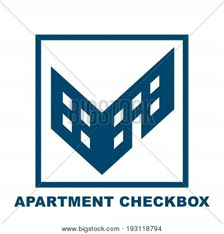 Checkbox in the form of a building, a symbol of choice realty, housing reservation, a monochrome vector illustration isolated on white background