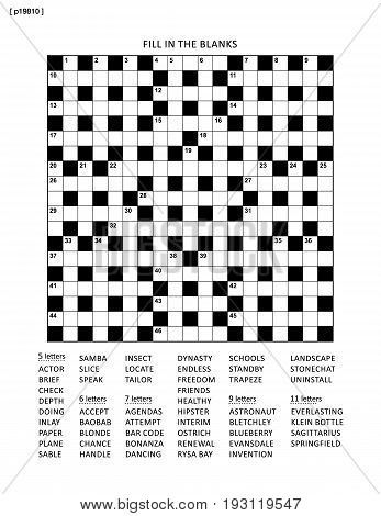 Puzzle page with 19x19 criss-cross (or fill in, else kriss-kross) English language word game. Black and white, A4 or letter sized. Answer is on separate file.
