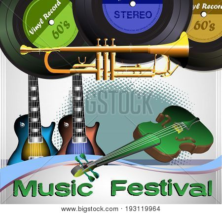 Colorful illustration with various vinyl discs, electric guitars, trumpet and a green violin. Music festival theme