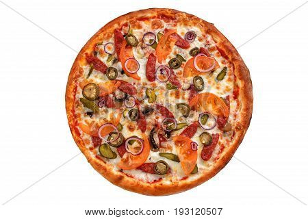 Pepperoni pizza. Italian pizza on white background. Is