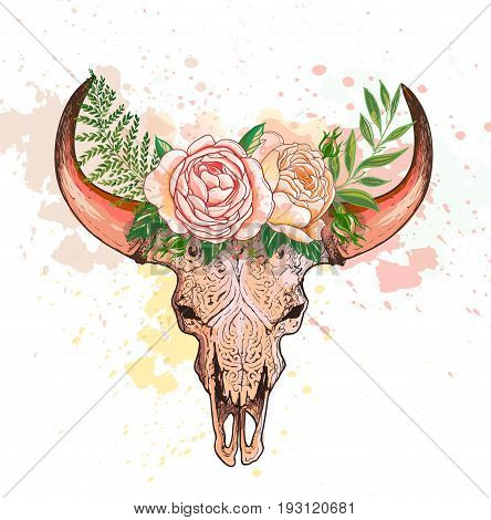 Skull of a deer and horns decorated flowers, vector illustration. bohemian watercolor hipster design print. bull skull with roses on her head. Graphic illustration technique, linework