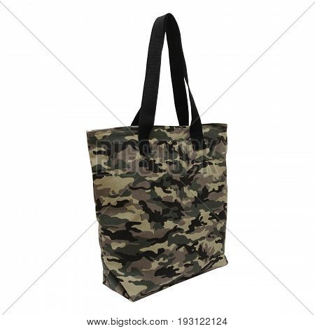 recycled cotton tote camouflage isolated on white background