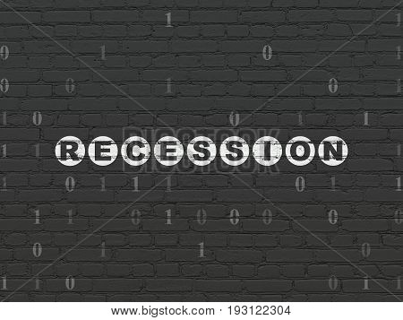 Business concept: Painted white text Recession on Black Brick wall background with Binary Code
