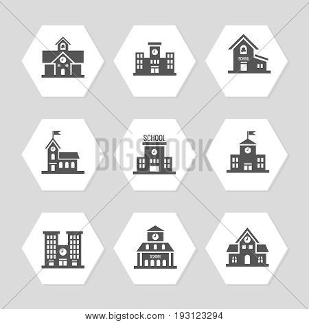 School buildings flat icons. Collection of design education buildings. Vector illustration