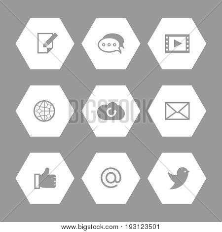 Social media and network icons set. Communication set of icons, vector illustration