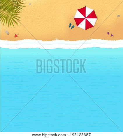 sea beach with waves and red umbrella. bright background with beach for sea resort
