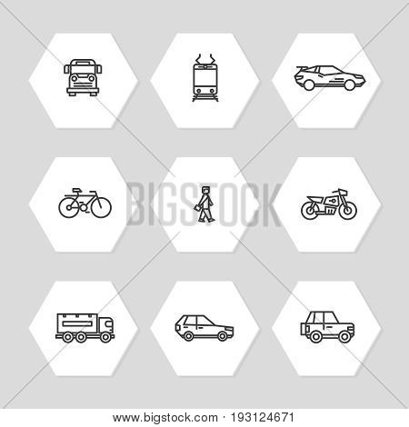 City transportation line icons set - cars, train, bus icons. Collection of linear transportation symbol. Vector illustration