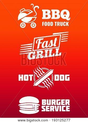 Fast food labels collection - bbq, fast food and burger banner design. Emblem fast food grill. Vector illustration