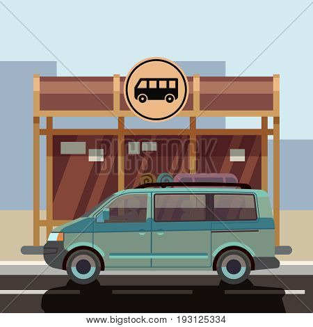 Illustration of flat style minibus on bus stop. Passenger transport for travel and trip vector
