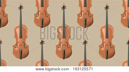 Seamless pattern with realistic wooden violin. Background with music instrument