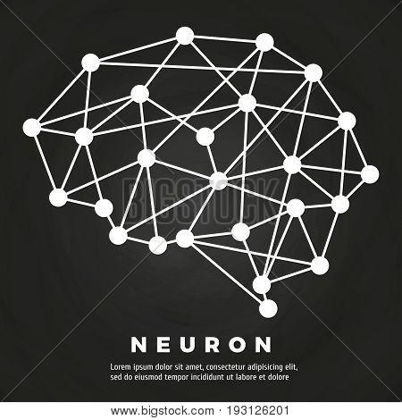 Abstract line brain neural network chalkboard poster design. Vector illustration