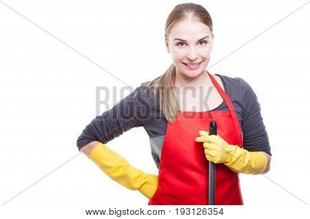 Portrait Of Smiling Housekeeper Holding Mop