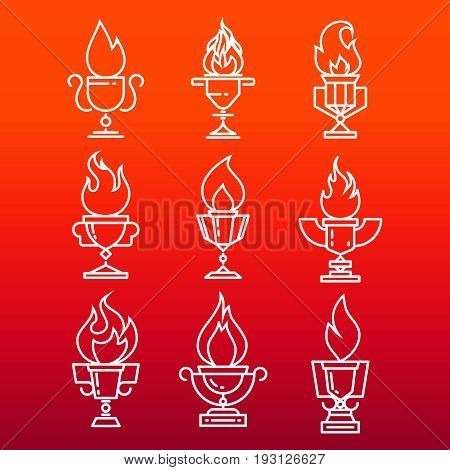 Goblet of fire line icons set - trophy cup with fire flame. Vector illustration