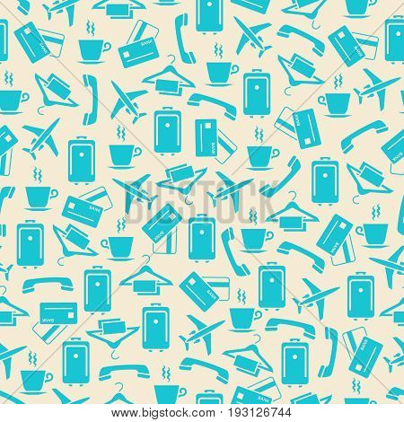 Hotel and travel seamless pattern - journey seamless texture. Holiday and journey background. Vector illustration