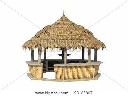 3D rendering of a straw beach bar isolated on white background