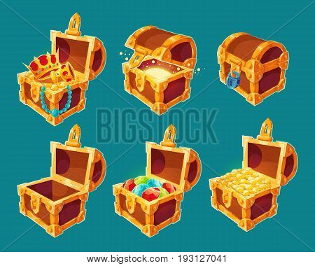 Collection of isolated cartoon illustrations of wooden chests with treasures of gold coins and jewels