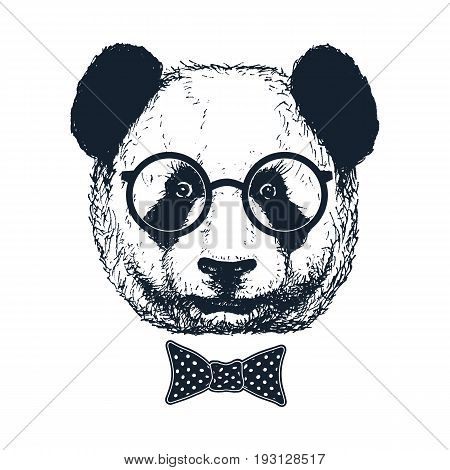 Hand drawn panda with sunglasses and bow tie. Vector illustration.