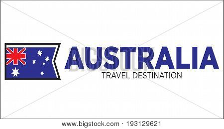 Vector illustration of Australia flag with travel destination words.