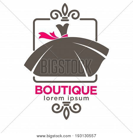 Vector illustration of minimal emblem of boutique with dress.