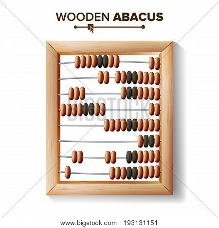 Abacus Close-up. Vector Illustration Of Classic Wooden Abacus Long Before The Calculator. Shop Arithmetic Tool Equipment.